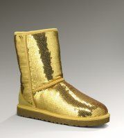 Women UGG Classic Short Sparkles Boots Gold