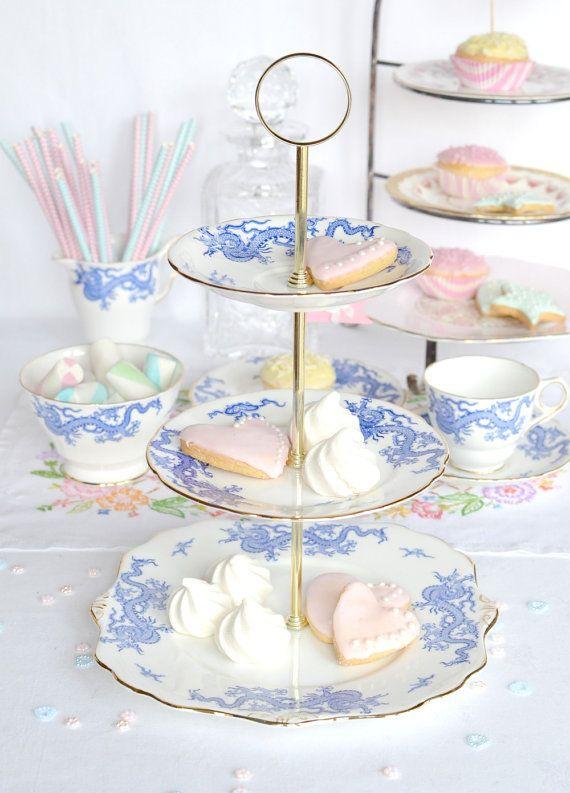 Blue Dragon 3 tier cake stand  sc 1 st  Pinterest & Blue Dragon 3 tier cake stand | Make your own Cake Plate | Pinterest ...
