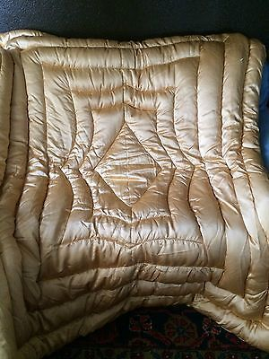 Vintage Satin Peach Hollywood Glam Goose Down Full Comforter Bedspread Blanket