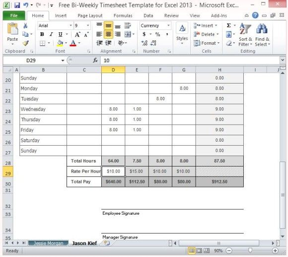 Free Bi-Weekly Timesheet Template For Excel 2013 DHARMRAJ