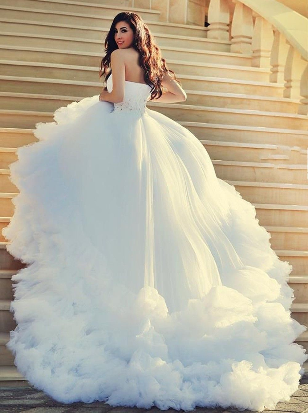 elegant one shoulder chapel wedding dress with beading feathers ...