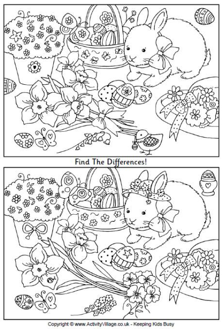 Easter Find The Differences Easter Worksheets Easter Puzzles Easter Preschool