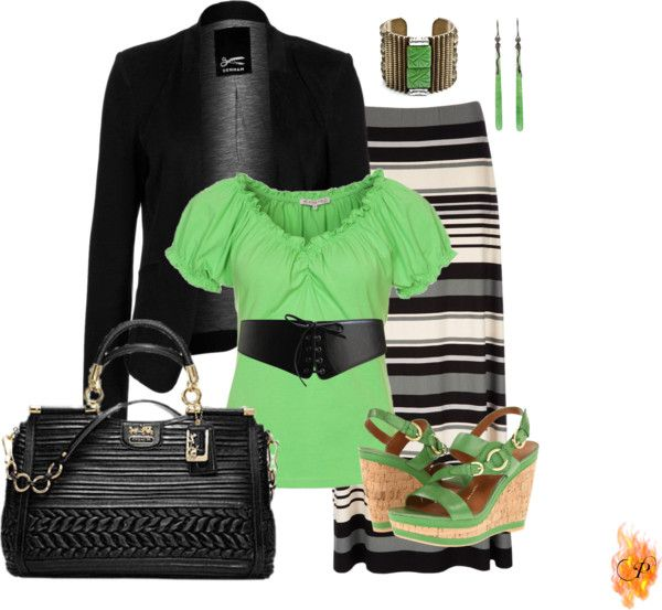 """""""Splash of green with striped Maxi"""" by pyroprincess on Polyvore"""