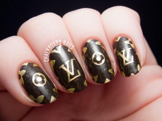 Louis Vuitton Pattern Freehand Nail Art (Chalkboard Nails) | Louis ...