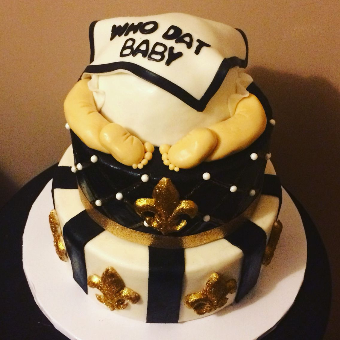 New Orleans Saints cake for baby shower made by Ashley\'s Tiers of ...