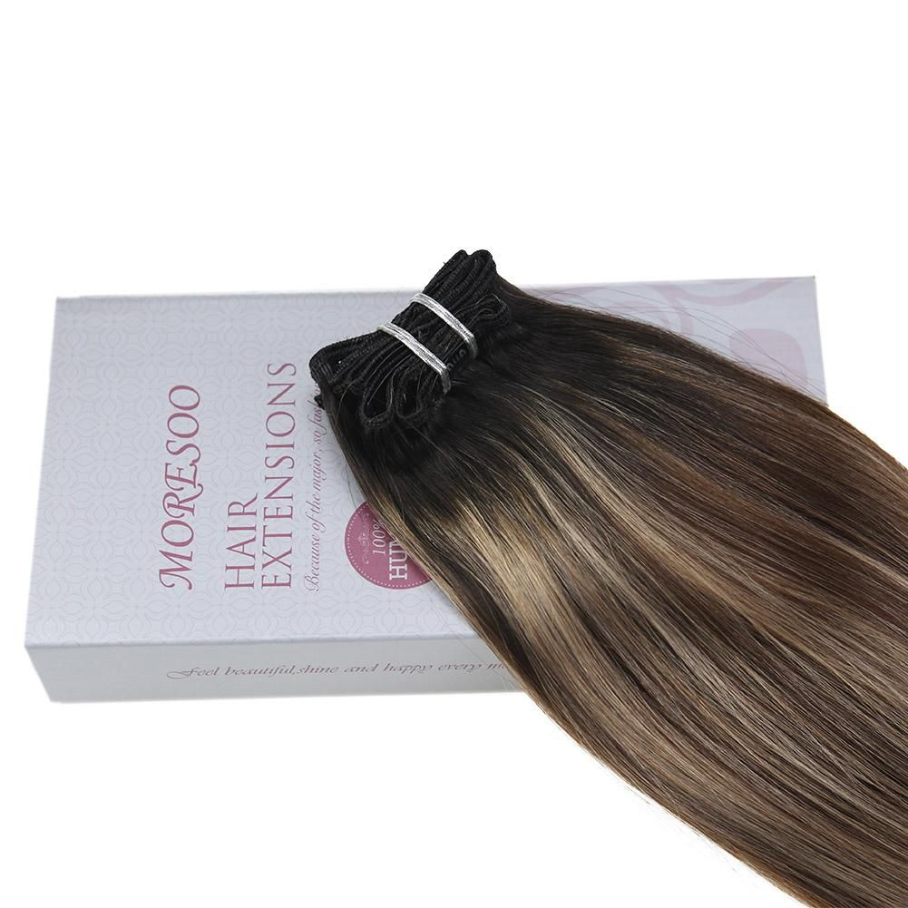 120g 9PCS Clip in Hair Black 1B Fading to Brown 4 Mixed