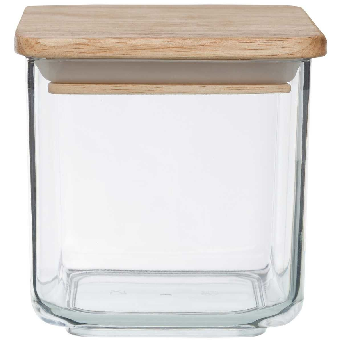 House Home Small Wooden Square Canister Food Storage
