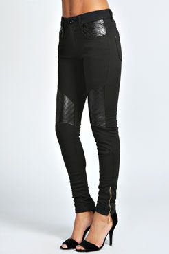 Monique Motorcycle Quilted Detail Ponte Trousers at boohoo.com ... : quilted trousers - Adamdwight.com
