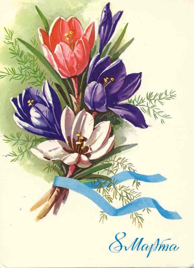 Нарисованные открытка с 8 мартом, креветками