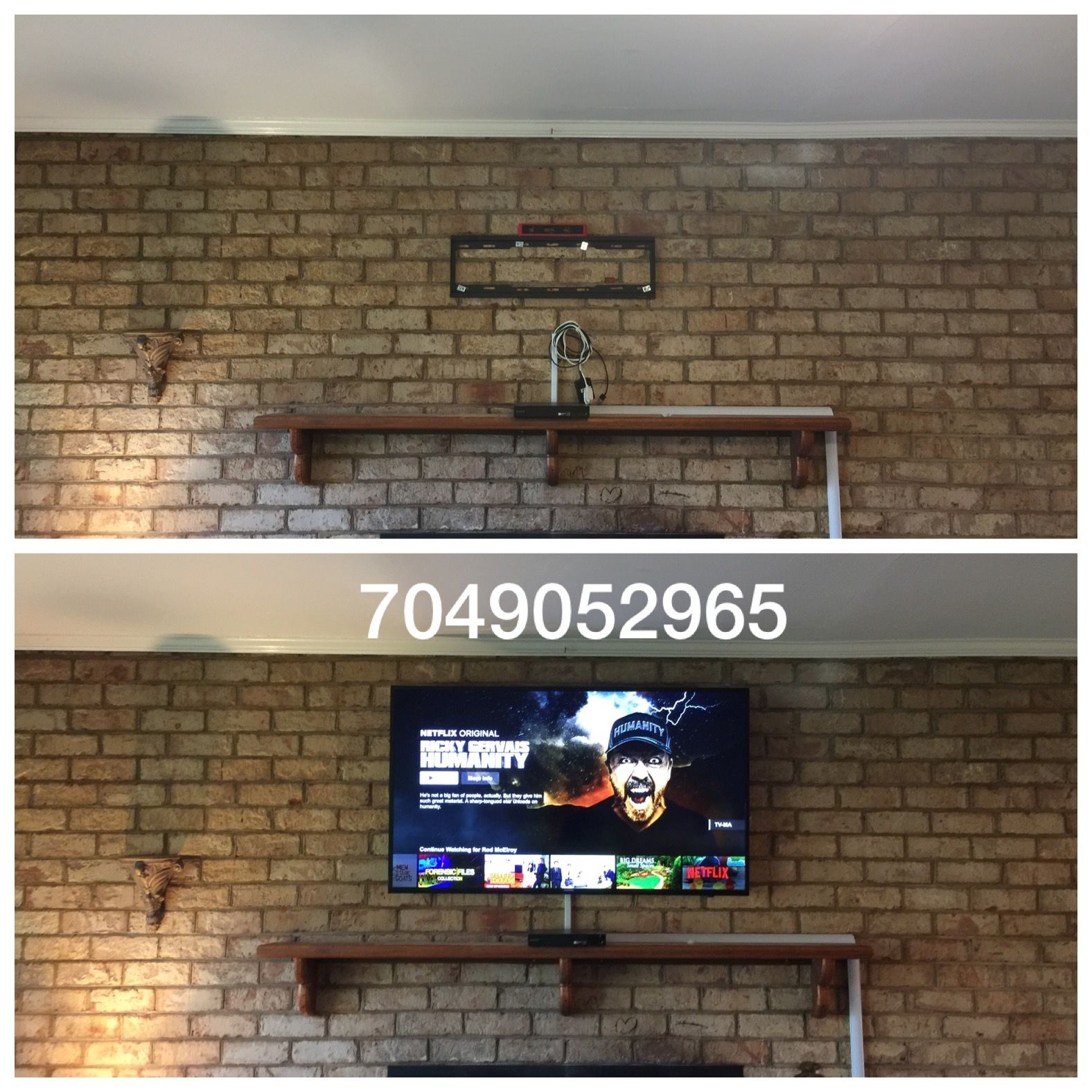 """43"""" Samsung smart tv mounted over brick fireplace with DVD player on mantle  and wiring"""