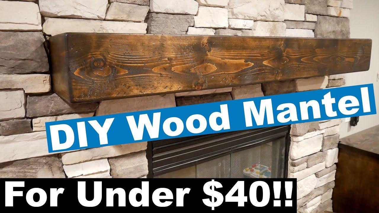 Diy solid looking wood mantel youtube diy mantel wood
