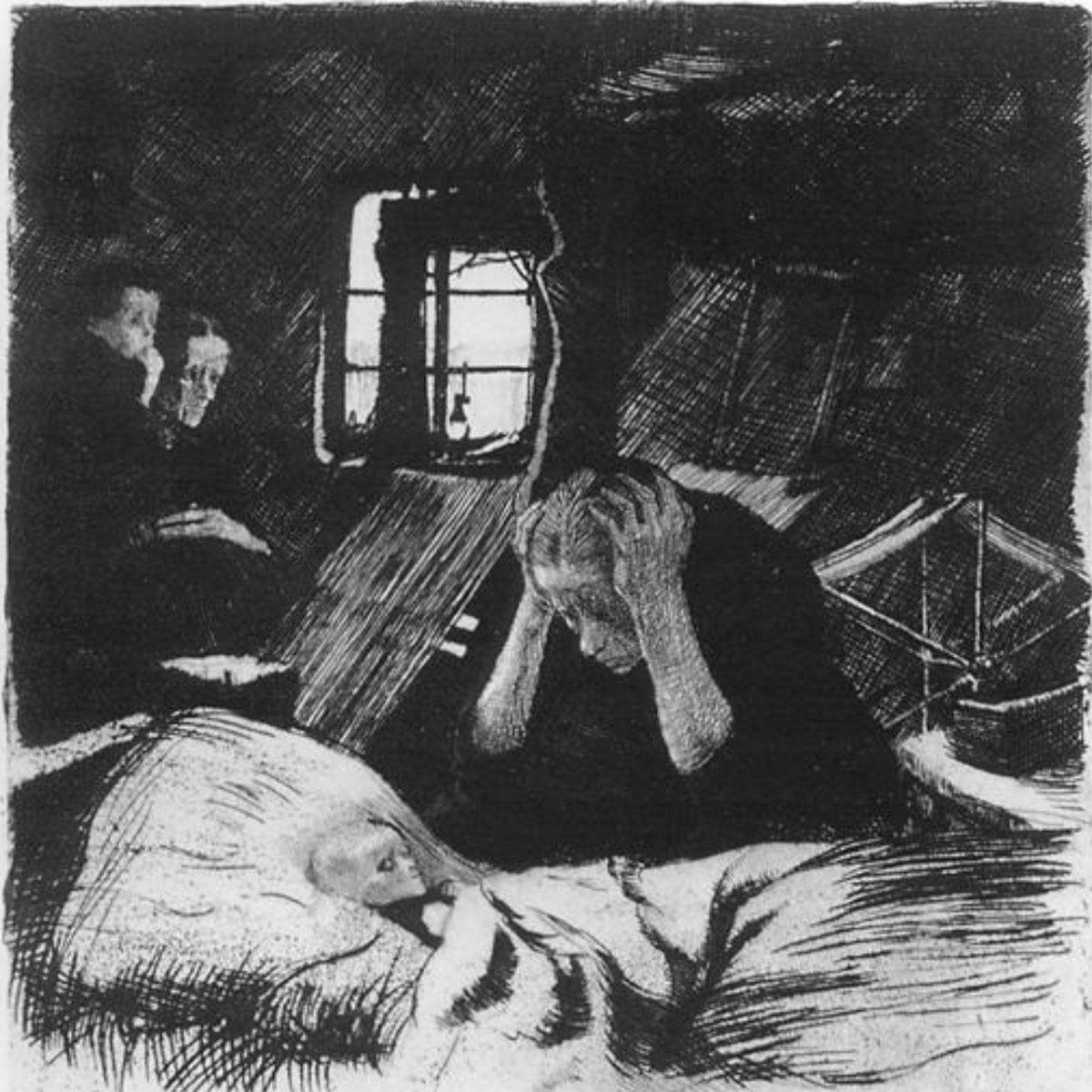 الفقـر للفنانة الألمانية كاثـي كولفيـتز 1893 ترسم أم ا شاب ة وهي تنحني بيأس فوق طفلها الذي يحتضر في السرير أمامها Kathe Kollwitz Kathe Kollwitz Artwork Art