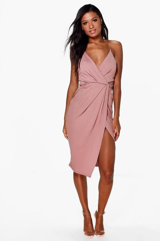 f878db12a7cd Strappy Wrap Detail Midi Dress | Party/Date | Dresses, Tux dress ...