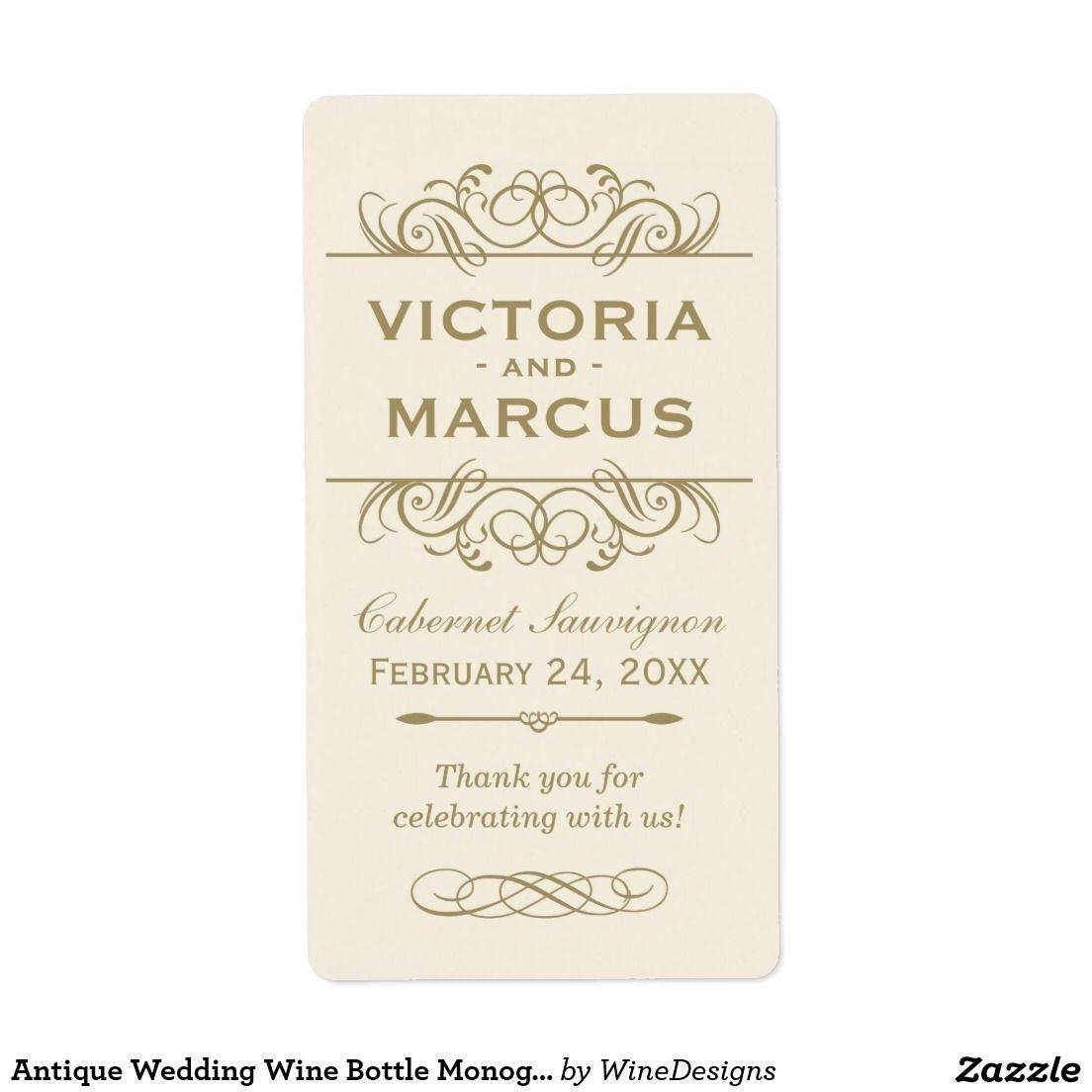 Antique Wedding Wine Bottle Monogram Favor Labels | Wine / Champagne ...