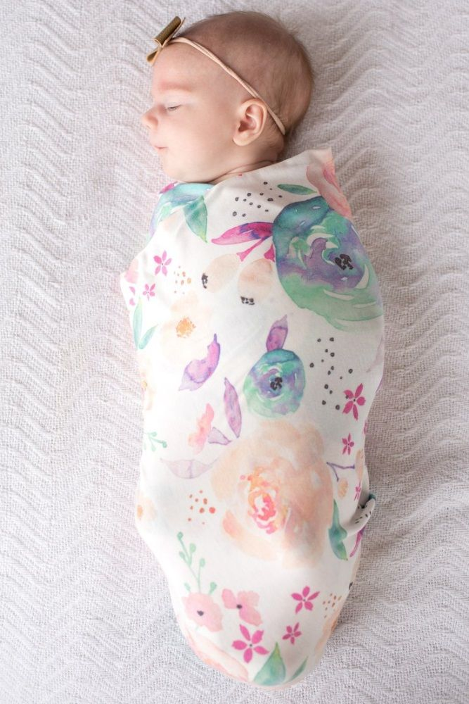 Ivory Watercolor Floral Swaddle Blanket
