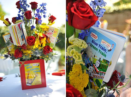 Centerpieces In Primary Colors With Storybook Vases Baby Showers