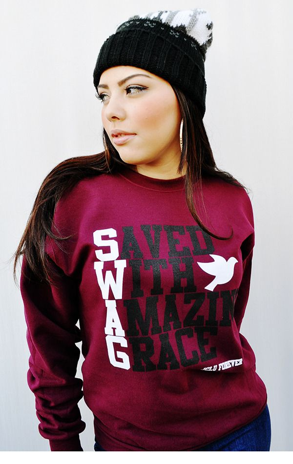 039-SWAG MAROON UNISEX CREW SWEATSHIRT by JCLU Forever Christian t-shirts