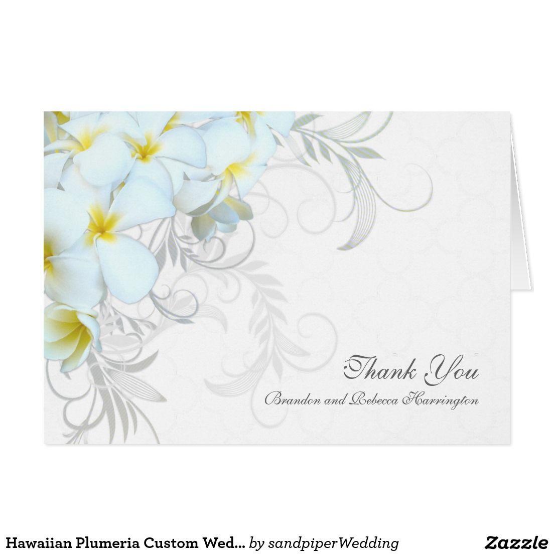 Hawaiian Plumeria Custom Wedding Thank You Cards | Wedding Thank You ...