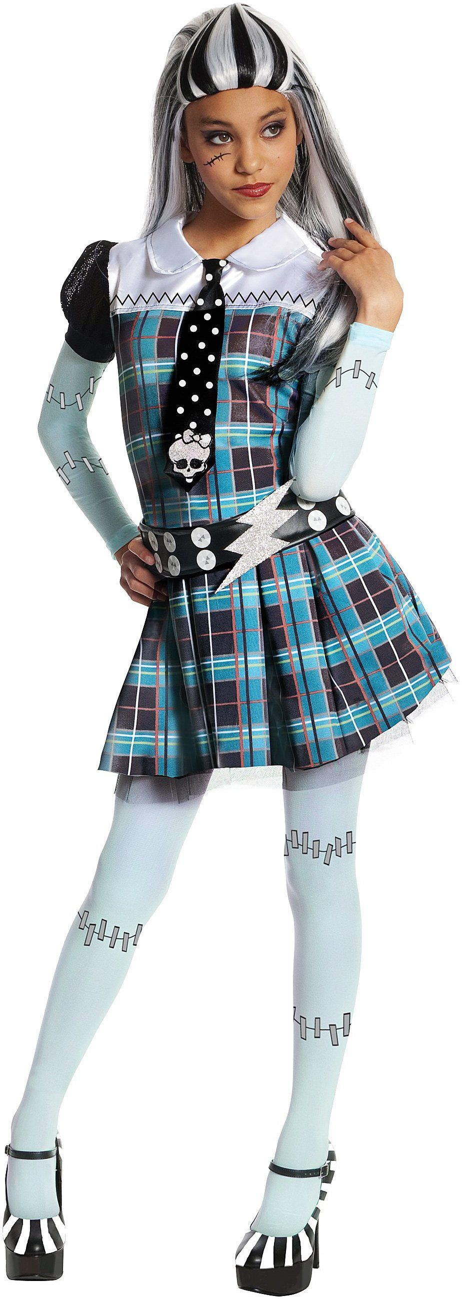 Monster High Frankie Stein Child Costume Be your favorite Monster High character with this dress with attached sleeves and tie belt and leggings!  sc 1 st  Pinterest & Monster High - Frankie Stein Child Costume | Horror masks Scary ...