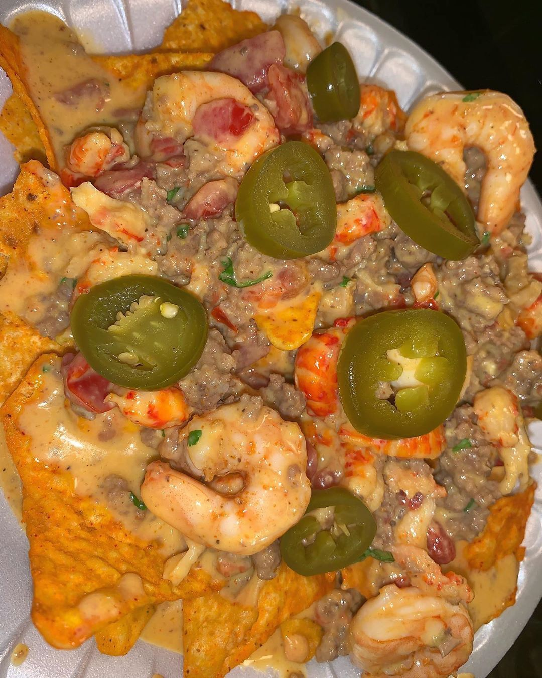 Seafood Nachos 10 16oz Nacho Cheese Sauce W Beef Shrimp And Crawfish Comes With Doritos 1 More To Add A D Seafood Nachos Food Dishes Shrimp Nachos Recipe