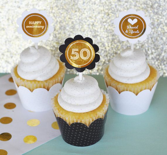 Wedding Shower Decorations 50th Anniversary Cupcake Toppers Birthday By ModParty
