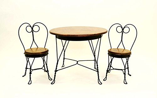 Antique Reproduction Childs Ice Cream Parlor Furniture Set Table And 2 Chairs Made The Old Fashioned Way With Only Bends Rivets No Welding Is 195