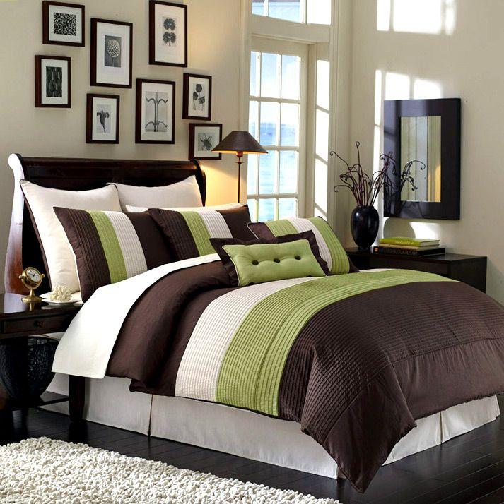 NEW Bedding SAGE GREEN/BEIGE/BROWN VENETO Comforter Set