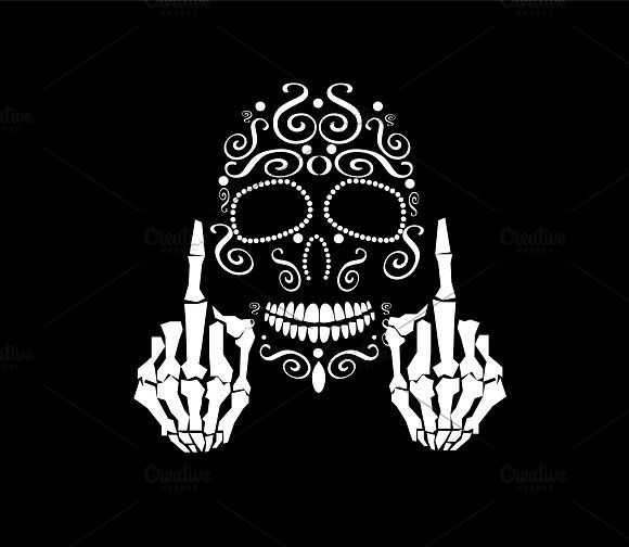 Skull vector with middle finger up by TeaGraphicDesign on @creativemarket