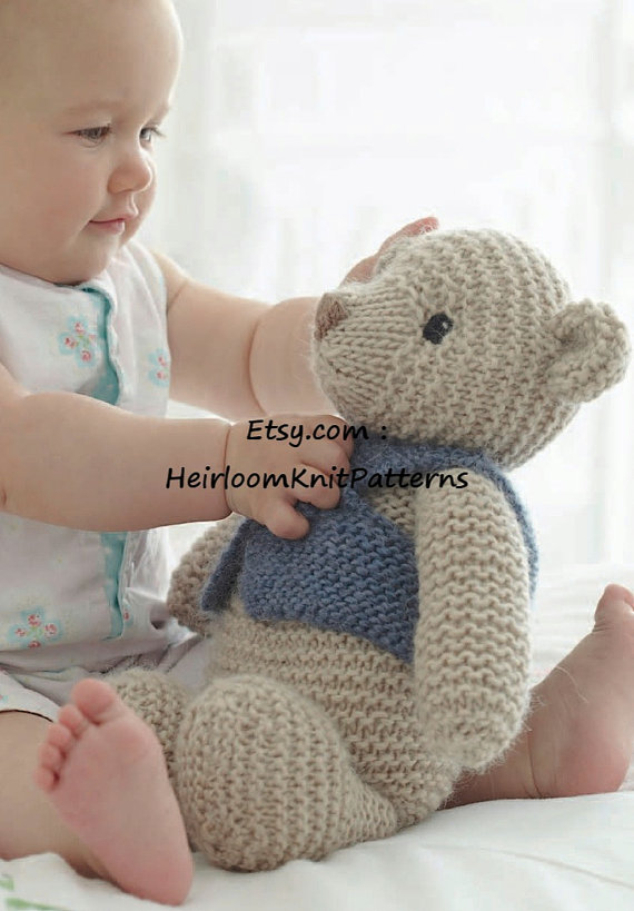 Toy Knitting Pattern for Classic Teddy Bear in Chunky/ Bulky ...