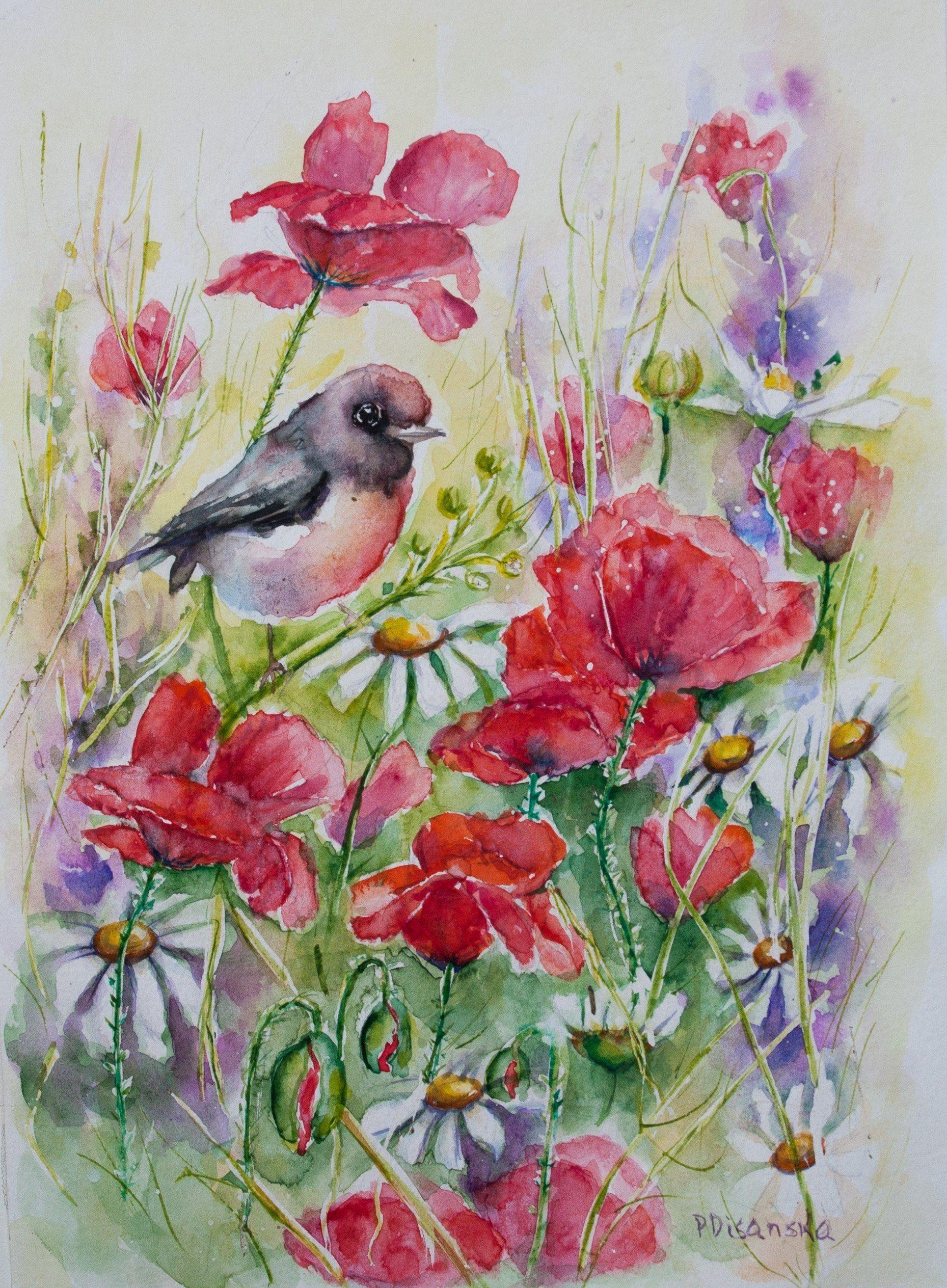 Birds And Flowers Bird Watercolor Birds Artwork Watercolor