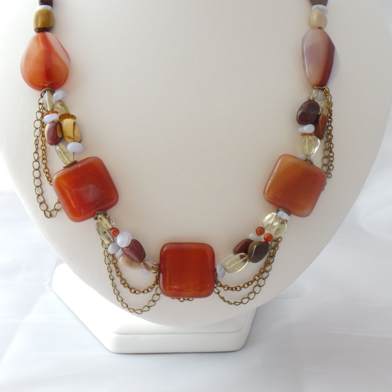 Statement gemstone necklace .Agate,Quartz ,Mookite and Chalcedony.Multigem bib necklace.Multistrand necklace.Gemstone bib ..Gemstone jewelry by KarensLittleGems on Etsy https://www.etsy.com/listing/190133048/statement-gemstone-necklace-agatequartz