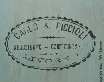 Old Script Stencil 1 French phrases of by WallMasqueStencilCo