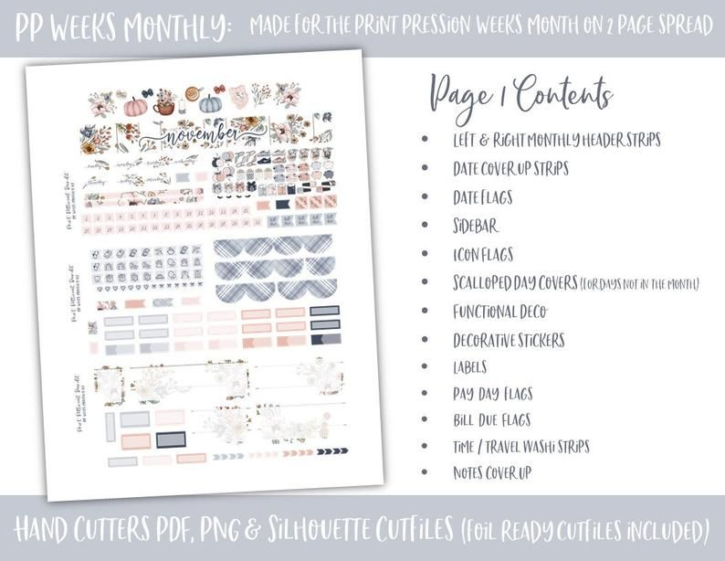 Foil Ready Print Pressions Weeks November 2020 Monthly Kit | Etsy