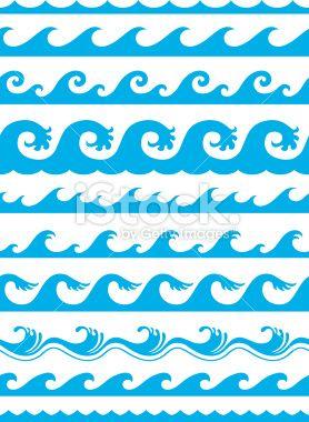 Waves wave pattern. Seamless ocean mosaics drawing