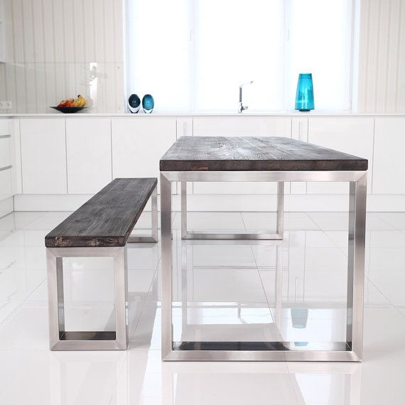 Kingston Industrial Style Wooden Stainless Steel Dining Table