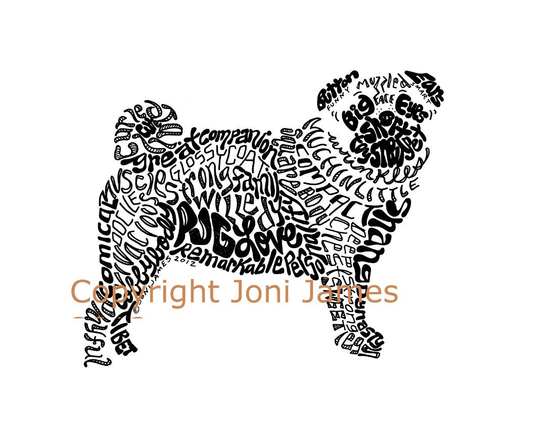 Pug Dog Word Art Calligram Typography Drawing Pen And Ink