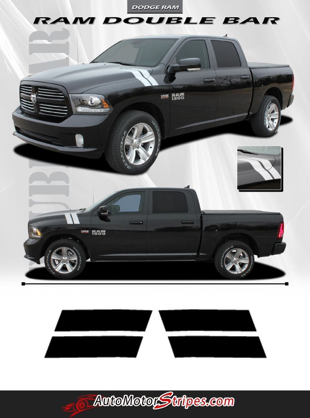 2009 2018 Dodge Ram Hash Marks Double Bar Truck Hood Fender Vinyl 2012 1500 Break Lights Vehicle Specific Style Graphic Stripe Decals Year Fitment 2010 2011 2013 2014 2015 2016 Contents