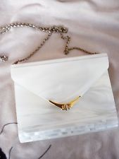 Vintage Mother of Pearl Purse Lucite w Removable Shoulder Chain