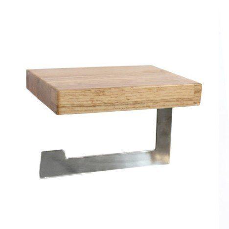 Dérouleur papier toilette bois / métal sans couvercle oslo Maison
