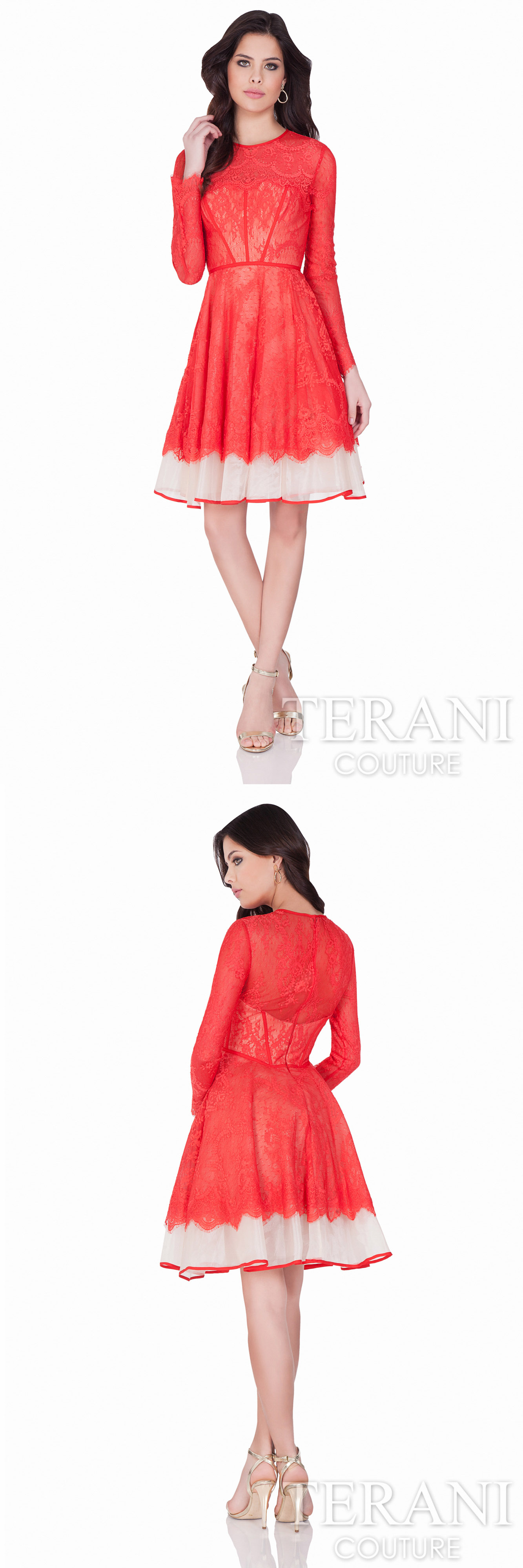 Terani Couture luxurious #cocktaildress from border lace top to ...