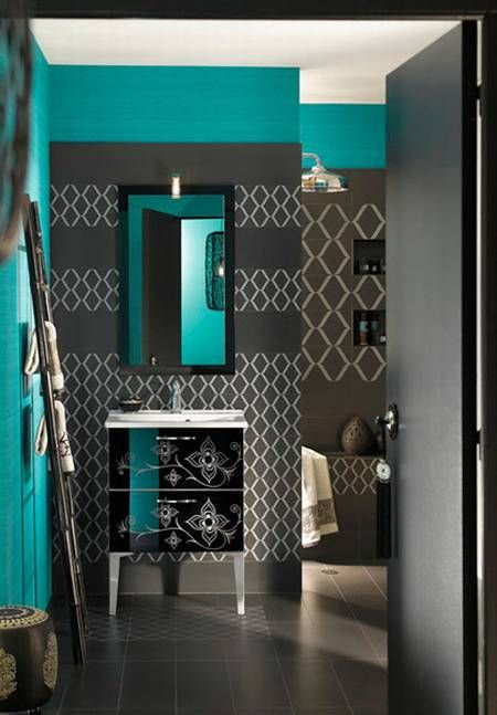 Teal And Grey Bathroom. Dark Grey And Teal Love This Is My Bathroom Inspiration It Is Mainly Black Vintage Subway Tile Popped With Red Grey And White Time For A Change And