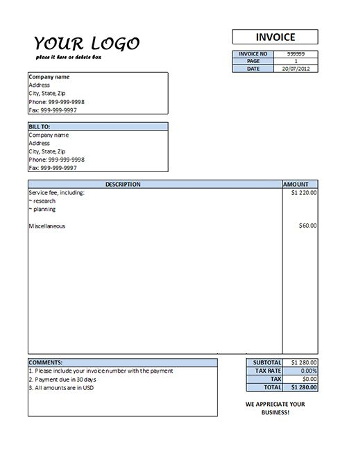 Service Invoice Template Word Download Free Blank invoice template