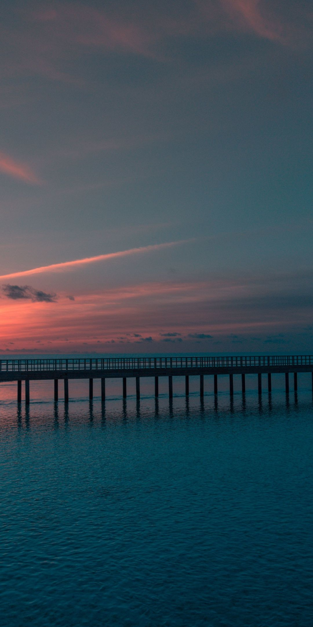 Sunset Bridge Sea Dark Nature 1080x2160 Wallpaper Dark