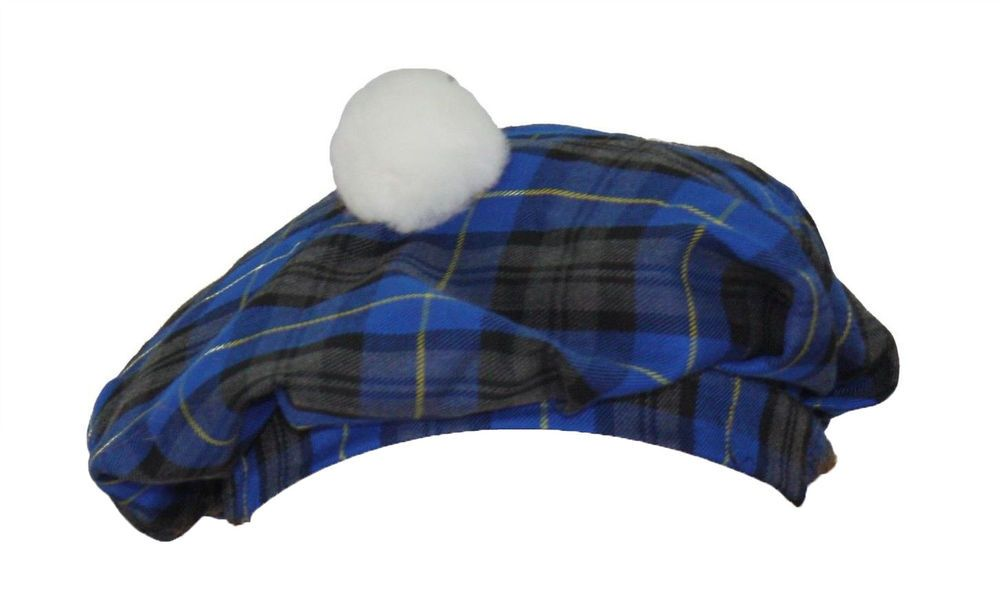 Adults Blue Hunting Tartan Night Cap Scottish Wee Willy winky Hat
