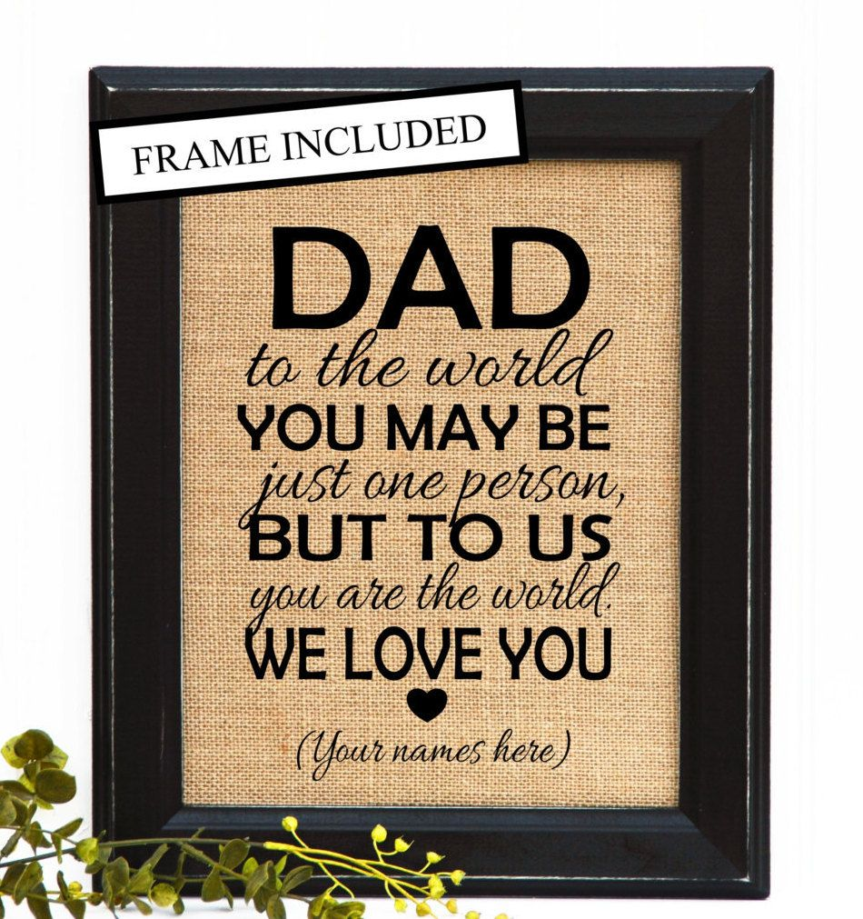 Dad Birthday Gift Father FRAMED Burlap Print DAD
