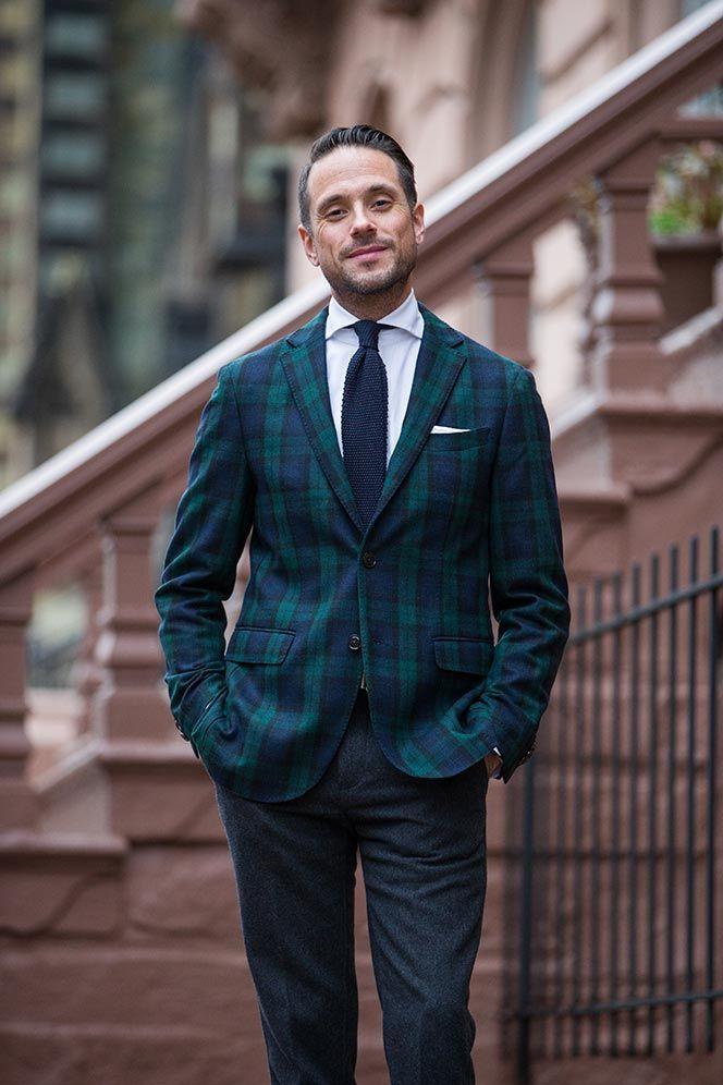 Black watch tartan suit jacket