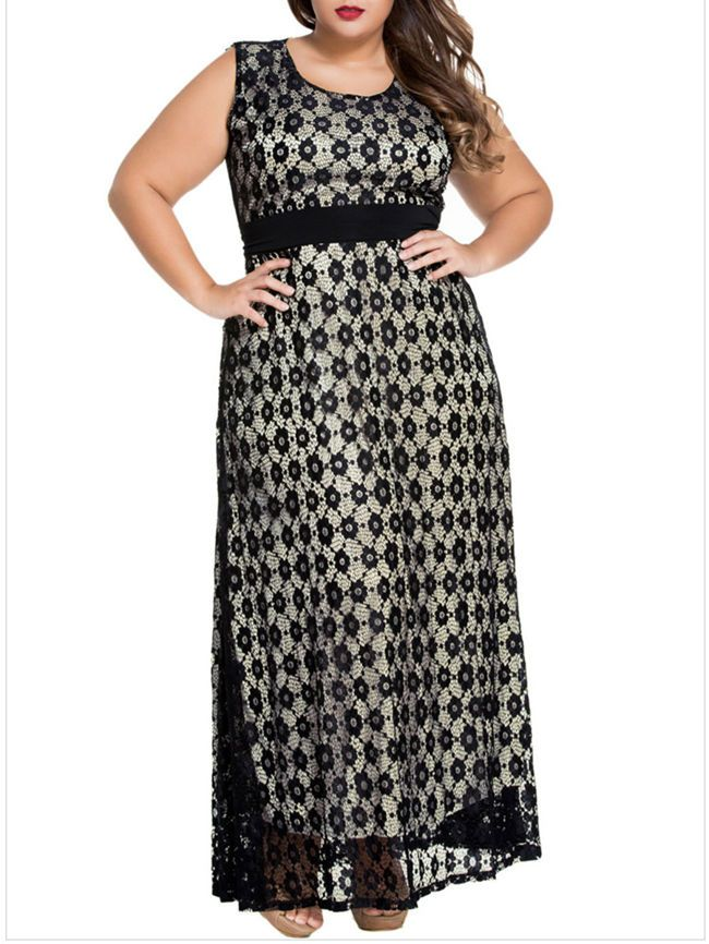 9b6419c6c9 Beautiful & unique long sleeveless dress with empire waist and sexy black  lace geometric floral design. Plus size dresses, curvy girl fashion, curvy  fit, ...