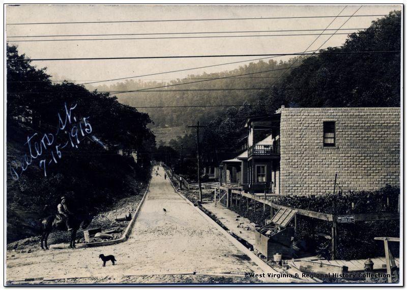 Looking up Peters Street, East Williamson, WV, 1915.