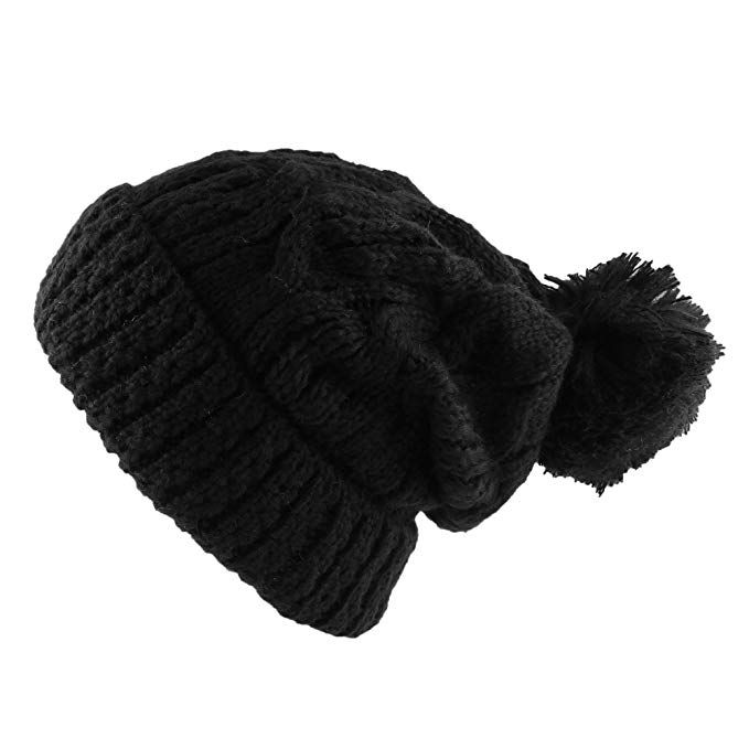 4a370c46c87 Morehats Thick Crochet Knit Pom Pom Beanie Winter Ski Hat Review ...