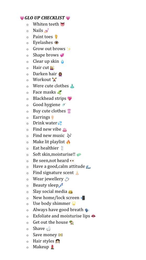 Glow up checklist